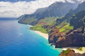 stock photo of pacific islands  - View on Na Pali Cost on Kauai island on Hawaii - JPG