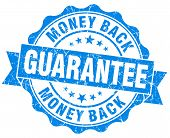 Money Back Guarantee Grunge Blue Stamp