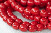 Colored Necklace Of Big Red Beads Strung On A Thread