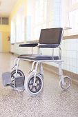 Hospital Invalid Chair On Hospital Corridor