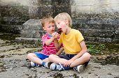 Sharing a lollipop