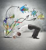 image of contortion  - Concept of acrobatic business with man and laptop - JPG