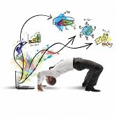 picture of contortion  - Concept of acrobatic business with man and laptop - JPG