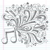 Music Note Back to School Sketchy Notebook Doodles with Music Notes and Swirls- Hand-Drawn Illustrat