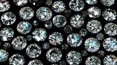 Set of round diamond on black background. Gemstone