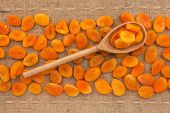 Wooden Spoon With  Dried Apricots