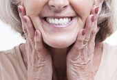 foto of denture  - Close up view on senior dentures - JPG