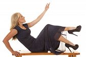 Woman Blue Dress Sit Reach Up