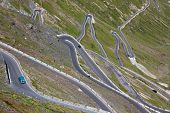 Some of the 48 hairpin turns near the top of the eastern ramp of the Stelvio Pass, South Tyrol, Ital