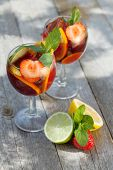 image of sangria  - Refreshing fruit sangria  - JPG