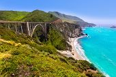 California Bixby bridge in Big Sur in Monterey County along State Route 1 US