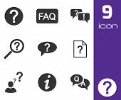 Vector black FAQ icons set