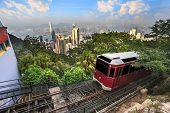 Victoria Peak Tram and Hong Kong city