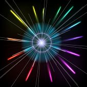 Abstract Colorful Magic Glow Ray Lights. Vector