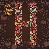 The letter H. Bright floral element of colorful alphabet made from birds, flowers, petals, hearts an
