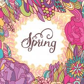 Bright spring concept background in vector. Stylish colorful floral card. Ideal for any type of holi