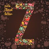 The letter Z. Bright floral element of colorful alphabet made from birds, flowers, petals, hearts an