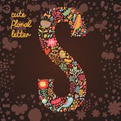 The letter S. Bright floral element of colorful alphabet made from birds, flowers, petals, hearts an