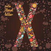 The letter X. Bright floral element of colorful alphabet made from birds, flowers, petals, hearts an