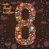 The number 8. Bright floral element of colorful alphabet made from birds, flowers, petals, hearts an