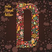 The letter D. Bright floral element of colorful alphabet made from birds, flowers, petals, hearts an