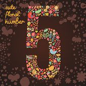 The number 5. Bright floral element of colorful alphabet made from birds, flowers, petals, hearts an