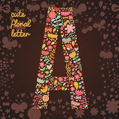 The letter A. Bright floral element of colorful alphabet made from birds, flowers, petals, hearts an