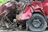 closeup view on car after crash