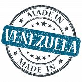 Made In Venezuela Blue Grunge Stamp Isolated On White Background