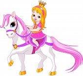 Cute little princess riding on a horse. Raster version.