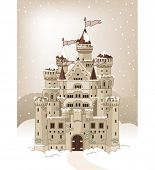 Magic Fairy Tale Winter Princess Castle. Raster version.