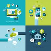 Flat design vector illustration concepts of online payment methods