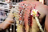 Penang, Malaysia - January 17: Hindu Devotee Carries Kavadi Himself In Thaipusam Festival On January