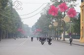 Decorated Street, New Year In Hanoi