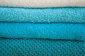 Turquoise And White Bath Towels Stack