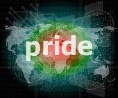 The Word Pride On Digital Screen