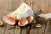 Cheese  And Ham On Wooden Platter