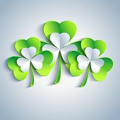 picture of saint patrick  - Beautiful Patricks day card gray with three 3d leaf clover - JPG
