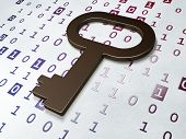 Security concept:  Key on Binary Code background