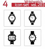 Vector black wristwatch icons set
