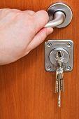 Opening Home Door And Bunch Of Keys
