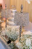 Beautiful crystal lamps decorating the table