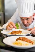 Closeup of a male chef garnishing food in the kitchen