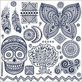 Set of ornamental tribal elements and symbols