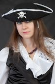 Portrait Of Girl In Piracy Hat Close Up