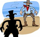 image of gunfighter  - Cartoon Illustration of Two Gunmen or Cowboys Gunfight Duel - JPG