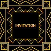 Art decor invitation card in vintage style. Vector illustration