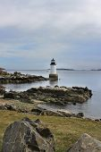 Lighthouse on rocky coast in Salem, Massachusetts