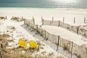 picture of gulf mexico  - Pair of adirondack chairs set to watch the Gulf of Mexico in Panama City Beach Florida USA - JPG