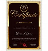 Brown and gold certificate template, vector illustration